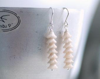 Ivory Earrings, Romantic Jewelry, Off White Wedding, Flower Earrings, Stacked Earrings, Sterling Silver, Garden Wedding - Canterbury Bells