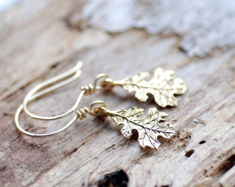 Oak Leaf Earrings, Autumn Jewelry, Gold Dangle Earrings, Woodland Wedding, Nature Jewelry, Gold Earrings, Gold Fill, Falling Leaves
