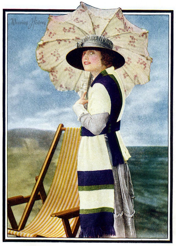 Edwardian Sewing Patterns- Dresses, Skirts, Blouses, Costumes 1919 Beach Scarf-  PDF Knitting Pattern Instant Download $2.99 AT vintagedancer.com