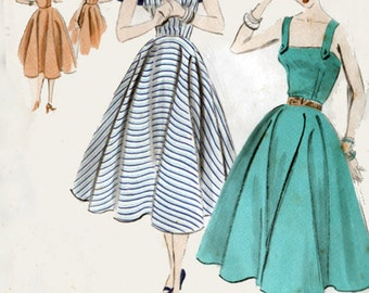 Vintage 1950s Sundress with Button on Cape Sewing Pattern Vogue 7706 50s ROCKABILLY Sewing Pattern Size 14 Bust 32