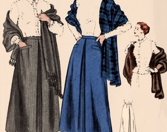 "1940s Skirt and Stole  Vogue 6552 Vintage Sewing Pattern Womens Easy to Make 32"" waist 41"" hip Uncut"