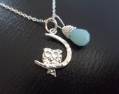Sterling Silver Horseshoe with Owl and Blue Quartz Necklace - Gemstone, Owl Charm, Wire Wrap Stone