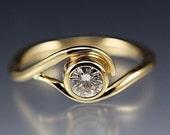 14k Yellow Gold Vine Engagement Ring w/ Moissanite