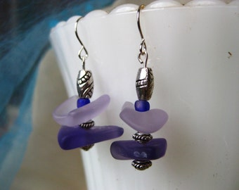 Stacked Beachglass inspired orchid earrings light and dark purple on silver plated wires beach wedding jewelry