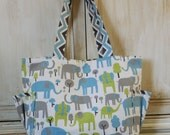 Diaper Bag - Large Tote - Includes Change Pad - Gift Package - Elephants - Chevron