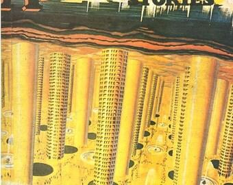 Vintage Magazine Cover Print Astounding Stories Sci-Fi City