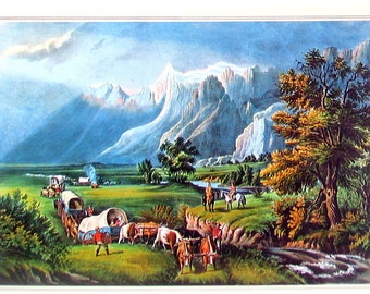 The Rocky Mountains - Emigrants Crossing the Plains - Small Currier and Ives Print - 1980 Vintage Book Page