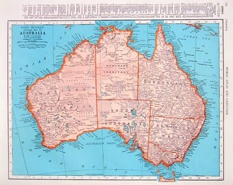 Oceania map etsy 1944 vintage map oceania map australia map 2 sided world atlas book page gumiabroncs Images