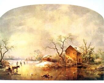 Winter Scene - Regis Gignoux - American Painter - Masterpiece Painting - 1966 Vintage Print Reproduction - 12 x 15