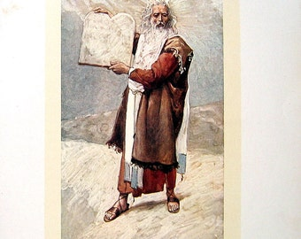 Moses and the Ten Commandments - 1904 James Tissot Chromolithograph Book Plate