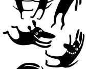 7 Funny Dog Vinyl Decal Stickers - Black or White - Wall . Laptop . Car . Window . Mirror