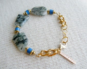 Ready to Ship- Beaded Bracelet- Tormulated Quartz and Vinyl Bluejay Bracelet
