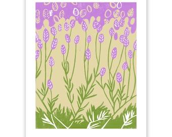 Lavender Block Print Art Reproduction
