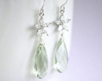 Plumeria earrings sterling silver, green stone earrings, cz flower earrings, bridal earrings, prasiolite earrings, Frangipani Sparkle Green