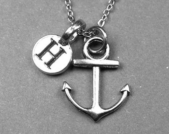Anchor Necklace, Anchor Charm, Nautical Necklace,  silver plated pewter, initial necklace, initial hand stamped, personalized, monogram