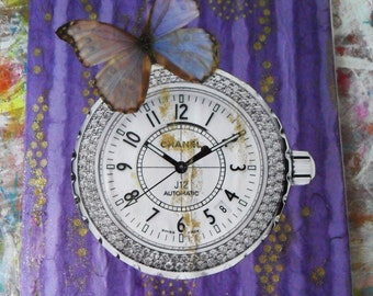 Customized JOURNAL NOTEBOOK Purple Paper Collage Butterfly & Watch Decoupage, 84 pages French Linage Inside