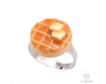 Scented Butter & Maple Syrup Waffle Ring Unique Kawaii Miniature Charm Cute Polymer Clay Food Jewelry Gift