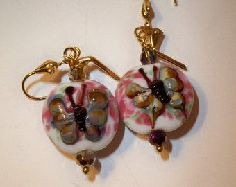 Butterfly Earrings with Pink & White Lampwork Glass Beads and Gold Accent Crystal Beads