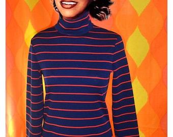 60s vintage turtleneck sweater STRIPES navy red mod preppy Medium 70s women fun