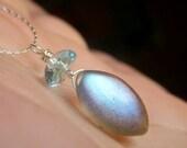 Blue Labradorite Necklace Sterling Silver, Petite Necklace, Fiery Labradorite and Blue Topaz Simple Minimalist Gemstone Marquis Briolette