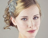 Gray And Silver Birdcage Veil With Beaded Lace Applique