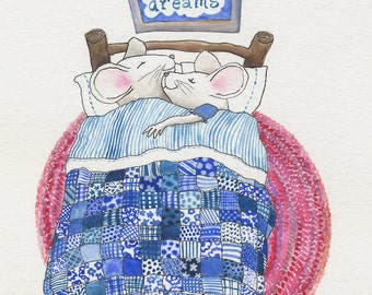 Children's illustration Sweet Dreamers mice pink blue patchwork nursery print