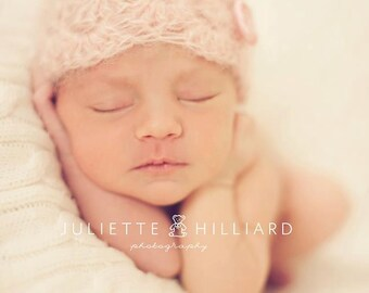 Newborn Baby Girl Hat in Pink with Flower