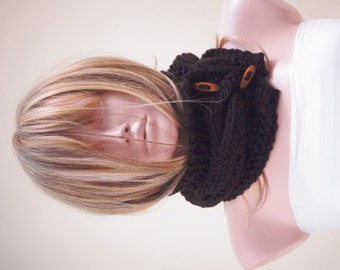 Brown, Bitter, Chocolate Knit cable Chunky Neckwarmer, Scarflette