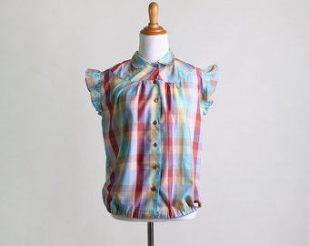 Vintage Plaid Blouse - Rainbow Color Ruffle Sleeve Bright Top - Medium Large