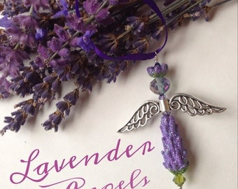 Lavender Glittering Glass Angel Holiday Ornaments