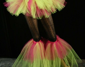 Raver tutu boot covers fluffy UV reactive dance club rave party leg warmers retro fuchsia neon yellow -- Sisters of the Moon