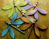Patina Dragonfly Charm - 1 pc - Large Brass Dragonfly - Aged Brass - Pick Your Finish - Patina Queen