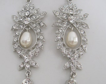 Bridal Jewelry Bride Rhinestone Pearl Earrings bridesmaids Rhinestone Earrings Bridal Accessories Whopping Size