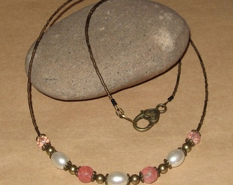 Rustic Handcrafted - Faceted WATERMELON TOURMALINE GEMSTONES With Brass - Simple Beaded Necklace - Layering Necklace - Free U S A Shipping -