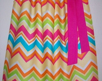 SALE 5t Pillowcase Dress CHEVRON Dress Sorbet by Michael Miller Hot Pink Turquoise Spring Dress Easter Dress Summer Dress