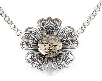 Steampunk Gothic Ornate Floral Filigree Antiqued Silver Choker with Vintage Watch Movement by Velvet Mechanism