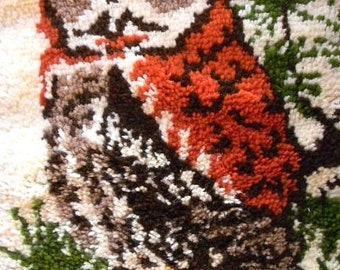 70s owl rug latch hook