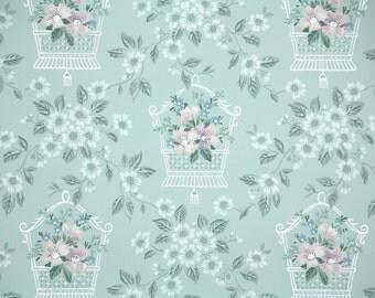 1950's Vintage Wallpaper - Floral Vintage Wallpaper with Pink and Lavender Flowers on Blue