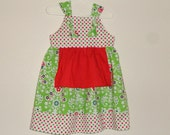 Girls Christmas Knot Dress Red Green Holiday Dots  Size 2 Ready to ship - Amievoltaire