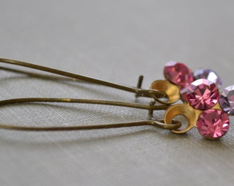 Pink and Violet Art Deco Earrings, Estate Style, Rhinestone Cluster, Brass Earrings, Kidney Wire Earrings, Bridesmaid Earrings