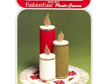 Vintage Christmas Plastic Canvas Pattern - Candles / Coasters / Ornaments / Gift Boxes - Christmas Ideas - Columbia Minerva Book 663
