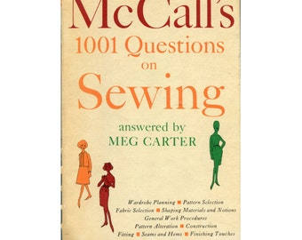 Vintage McCalls 1001 Questions on Sewing Book - Meg Carter - 1960s - Spiral Bound Hardcover