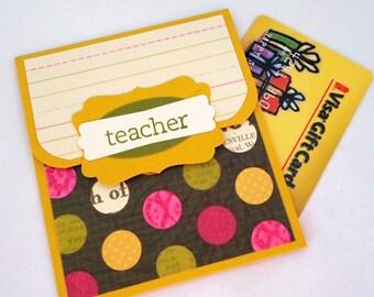 Cards for Teacher, Gift Card Holder, Teacher Thank You Gifts, Teacher Cards, End of School Gifts, Teacher Money Card, Teacher Appreciation