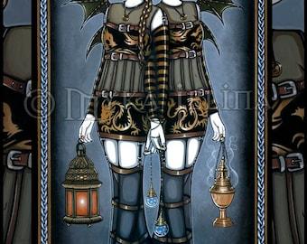 Gothic Couture Gemini Dragon Twin Faeries 13 X 19 inch Art Print