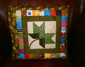 Quillow/Laptop quilt/Throw - Autumn Splendor - Green