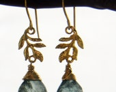 Gold Earrings with Moss Aquamarine Vermeil Leaf, Branch on French Wire Hooks, Beautiful!