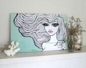 Pinup girl - art print by Brenda Dunn -wall art, home decor, bedroom art, bathroom art, big hair, Portland pinup artist, black and white art