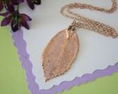 Rose Gold Rose Leaf Necklace, Real Leaf Necklace, Rose Leaf, Rose Leaf, LC22