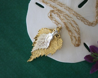Double Leaf Necklace, Double Real Birch Leaves, Leaves, Real Leaf, Gold Leaf, Silver Leaf , 22 DL