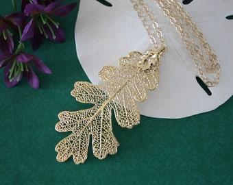 Gold Oak Leaf Necklace, Real Leaf Necklace, Lacey Oak Leaf, Gold Oak Leaf,  LC12
